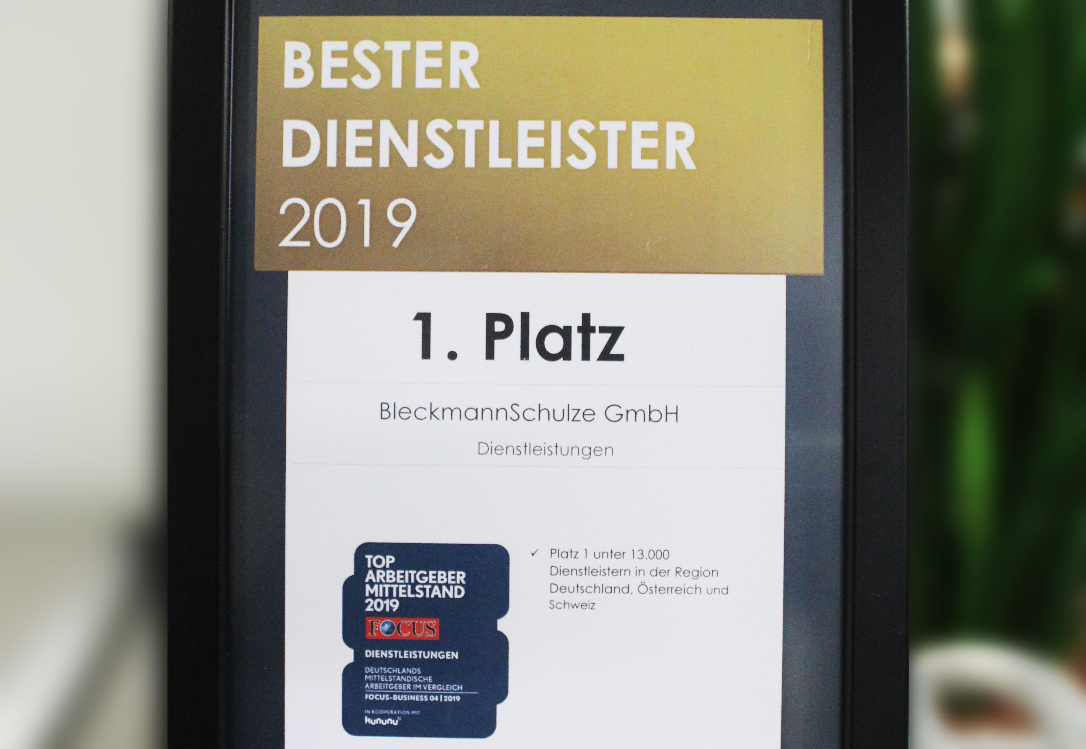 Bester Dientstleister 2019 ist BleckmannSchulze aus Köln